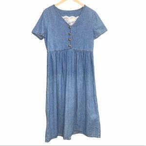 Vintage Blue Denim Jean Dress Removable Lace Sz 10